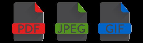 PDF, JPEG, GIF