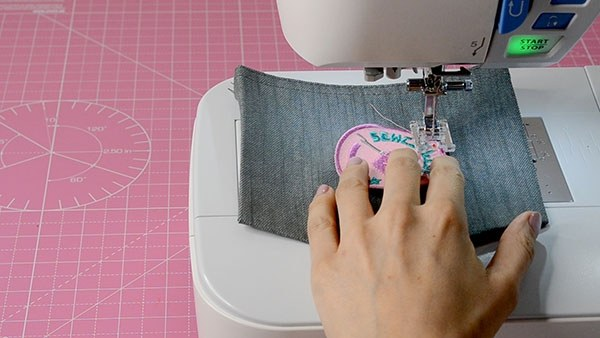 Sewing on patch by machine